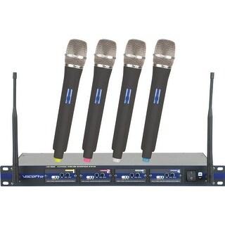 Professional 4-Channel Uhf Wireless Microphone System W/4 Handheld Mics U-V-W-X Frequency Set