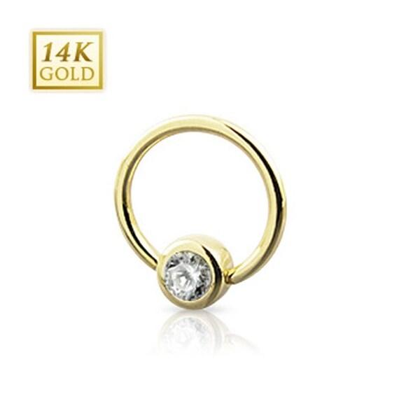 "14 Karat Solid Yellow Gold CZ Set Gem Ball Captive Bead Ring - 14GA 7/16"" Long (4mm Ball) (Sold Ind.)"
