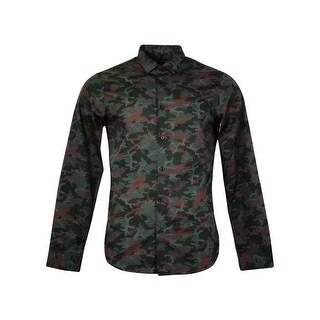 Michael Kors Men's Camouflage Pattern Long Sleeve Shirt - Bordeaux