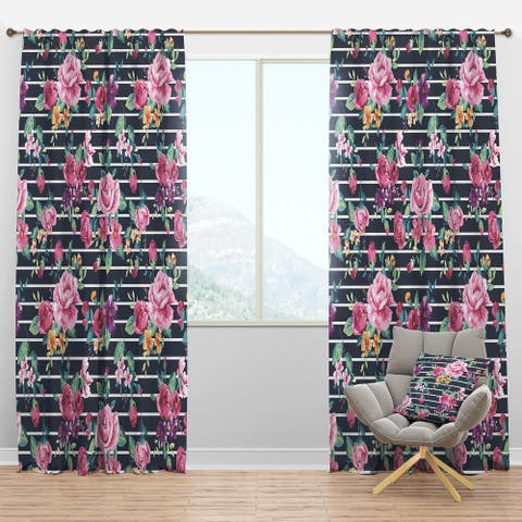 Designart 'Pink and Purple Flowers on Striped' Abstract Blackout Curtain Panel