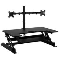 Mount-It! Sit Stand Workstation Standing Desk Converter With Dual Monitor Mount Combo (Sit-Stand + 2 Monitor Mount)