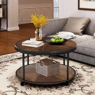 Round Coffee Table with Caster Wheels and Unique Textured Surface