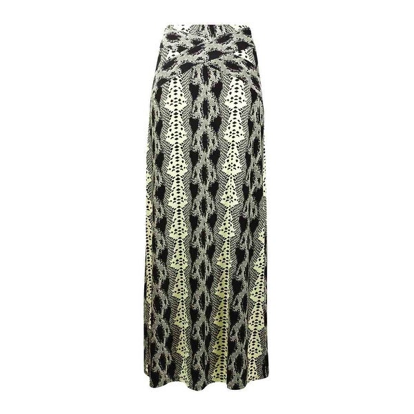 Shop Eci New York Women S Snake Print Jersey Maxi Skirt Lime