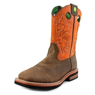 John Deere Square Pull On Youth Square Toe Leather Orange Western Boot