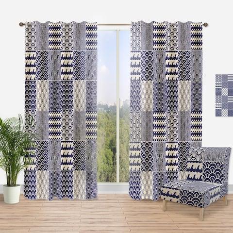 Designart 'Japanese Ocean Wave Pattern' Costal Curtain Panel
