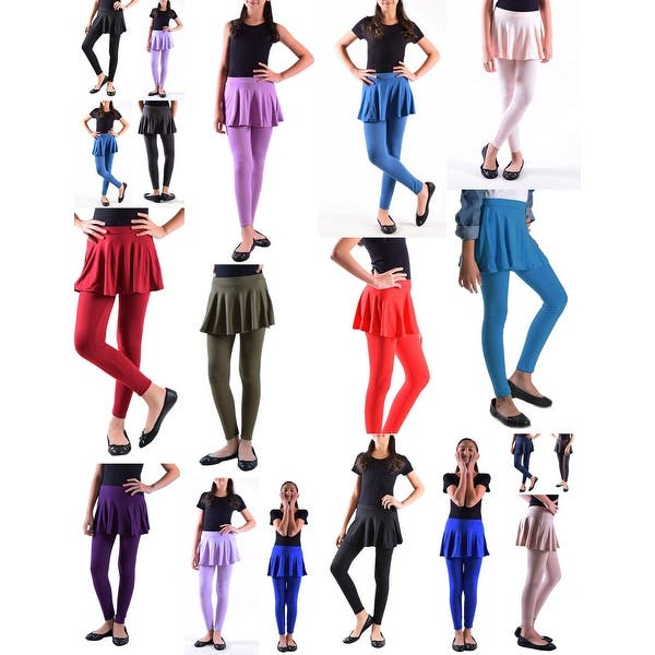 Dinamit Jeans Girls Solid Color Cotton-Spandex Leggings