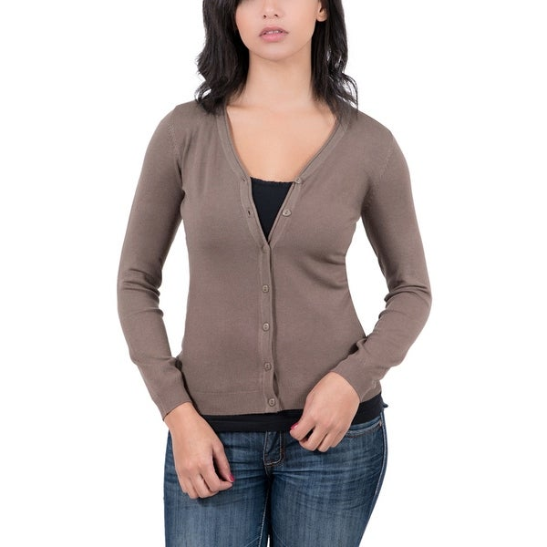 Real Cashmere Brown V-neck Cardigan Womens Sweater - Free Shipping ...