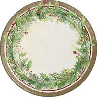 Club Pack of 96 White, Green and Brown Christmas Wreath Printed Dinner Plates 8.87""