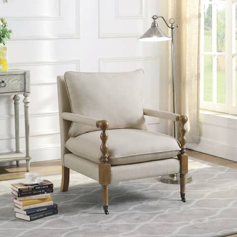 Beatrice Beige Wooden Accent Chair with Turned Legs