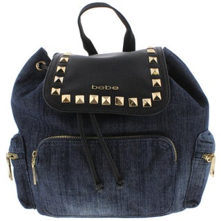 Bebe Womens Donna Backpack Denim Faux Leather Trim