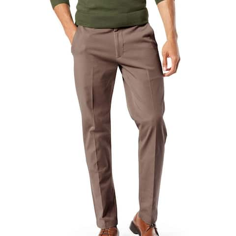 Dockers Mens Workday Khaki Pant Brown Size 48x32 Big & Tall Tapered Fit