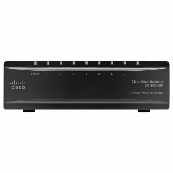 Cisco SG200-08 8-Port 10/100/1000 Gigabit Ethernet Switch - Black