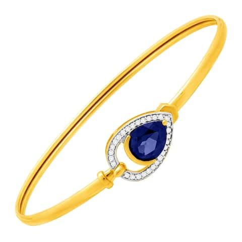 2 1/10 ct Ceylon Sapphire & 1/8 ct Diamond Teardrop Bangle Bracelet in 10K Gold - Blue