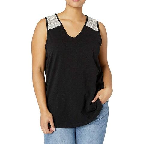 Aventura Womens Tank Top Black Combo Size 1X Plus V-Neck Embroidered