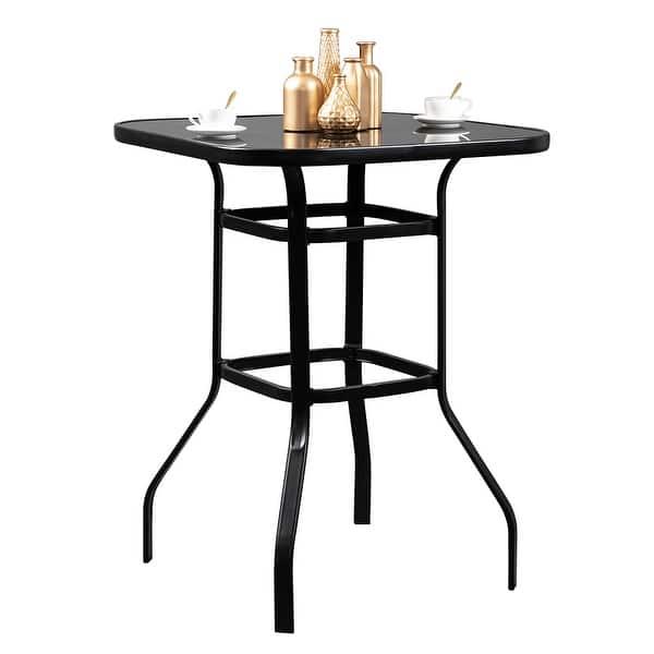 Shop Wrought Iron Glass High Bar Table Patio Bar Table Black Overstock 31930889