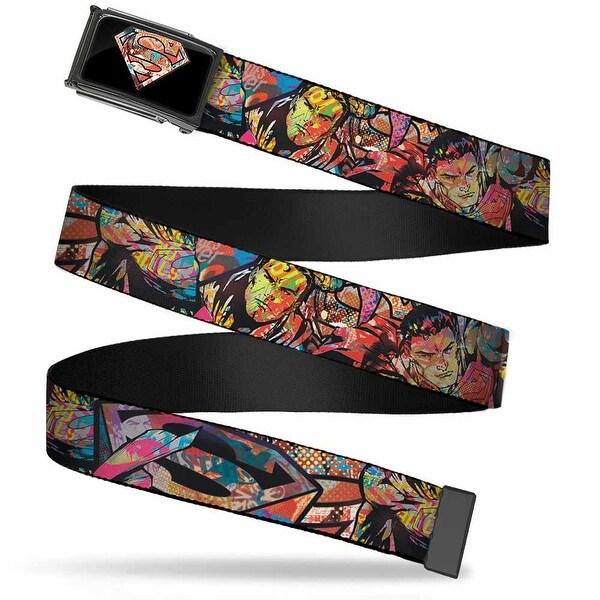 Superman Pop Art Shield2 Fcg Black Chrome Superman Comic Pop Art Web Belt