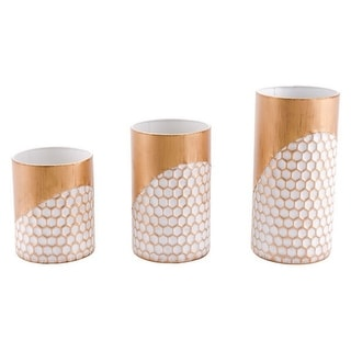 Set Of 3 Candle Holders Gold