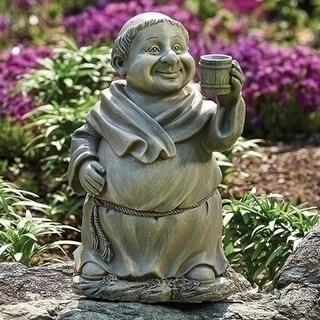 """11.5"""" Gray Smiling Monk with a Mug Religious Outdoor Patio Garden Statue"""