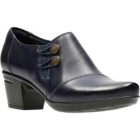 Clarks Women's Emslie Warren Bootie Navy Full Grain Leather