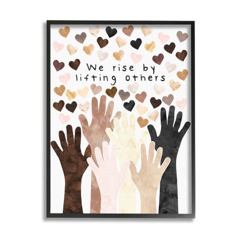Stupell Industries We Rise by Lifting Others Quote Hands Hearts Framed Wall Art
