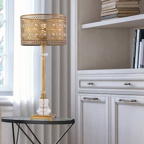 """28""""H Bryar Brass and Crystal 1-Light Buffet Table Lamp - 13.5"""" x 13.5"""" x 28"""""""