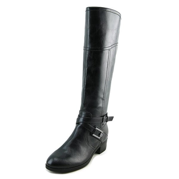 Unisa Trinee Women Round Toe Synthetic Black Knee High Boot