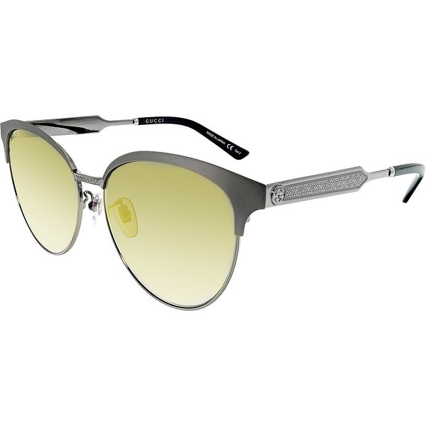 98ab976aca2 Shop Gucci Mirrored GG0074SK-005-5 Silver Butterfly Sunglasses - Free  Shipping Today - Overstock - 18900952