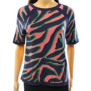 Anne Klein NEW Pink Blue Women's Size Small S Crewneck Zebra Sweater