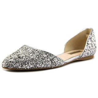 INC International Concepts Cresc6 Women Pointed Toe Canvas Silver Flats