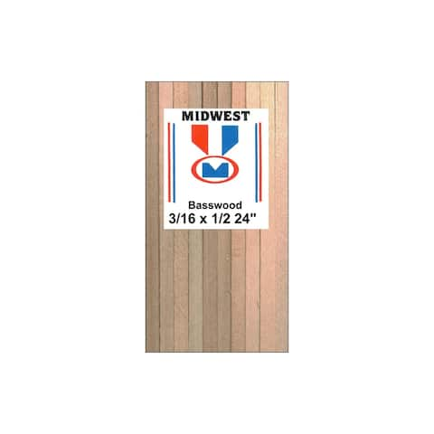 """Midwest Basswood Strips 3/16 x 1/2 x 24"""""""