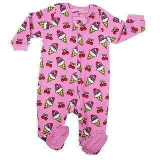 Elowel Little Girls Fuchsia Icecream Print Footed Fleece Sleeper Pajama