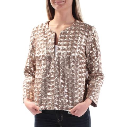 ALFANI Womens Gold Sequined Jewel Neck Cocktail Jacket Size XS