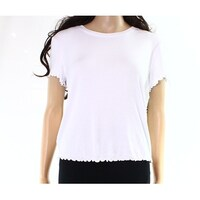 9e45dacf8a1400 Abound NEW Bright White Womens Size Large L Lettuce-Edge Cropped Knit Top  690