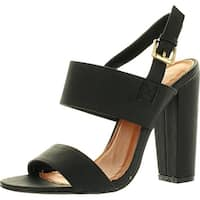 Static Footwear Fay-1 Womens Round Toe Buckle Ankle Strap Chunky Heel Dress Sandals
