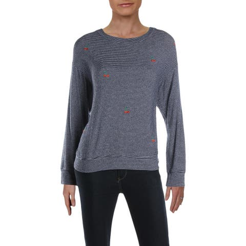Sundry Womens Cherries Pullover Top Embroidered Crew Neck - Navy