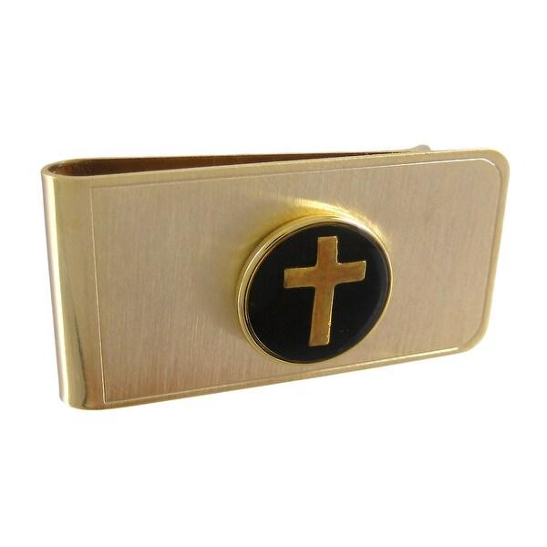 Gold Plated Christian Cross Money Clip - Black