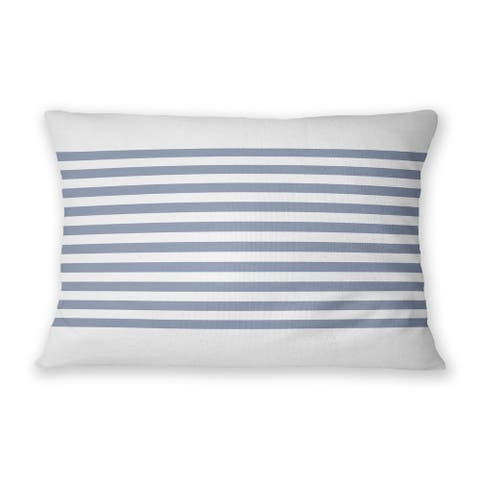 GRELLY WHITE & DENIM Indoor Outdoor Lumbar Pillow By Kavka Designs