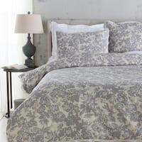 Battleship Grey and Cool Gray Elegant Blossom Dreams Linen Decorative Full/Queen Set