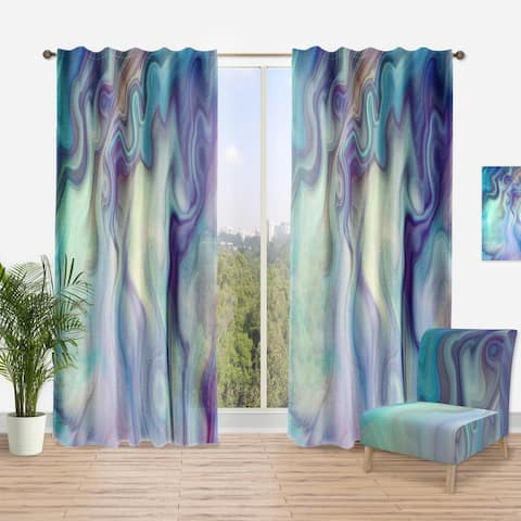 Designart 'Marbled Colours in Shades of Turquoise and Purple' Modern Curtain Panel
