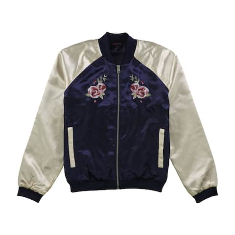 Material Girl Womens Embellished Bomber Jacket