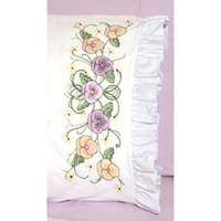 "Pansy - Stamped Ruffled Edge Pillowcases 30""X20"" 2/Pkg"