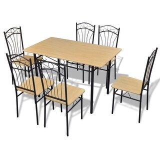 vidaXL Seven Piece Dining Table and Chair Set Light Brown