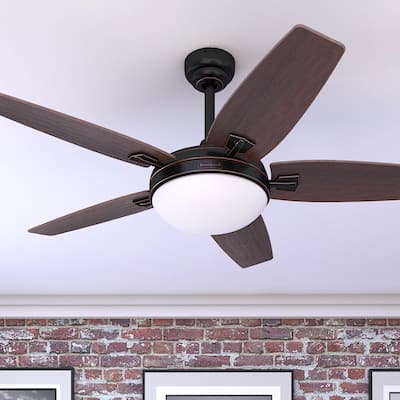 Honeywell Carmel Espresso Ceiling Fan with Integrated Light and Remote - 48-inch