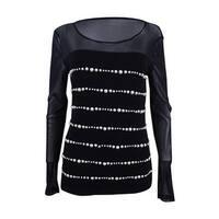 INC International Concepts Women's Pearl-Embellished Top (M, Deep Black) - Deep Black - M
