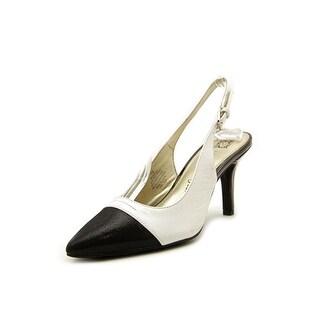 Anne Klein Yarina Women Pointed Toe Leather White Slingback Heel