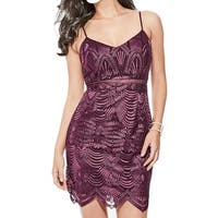 Guess Purple Women's Size 2 Embroider Illusion Sheath Dress