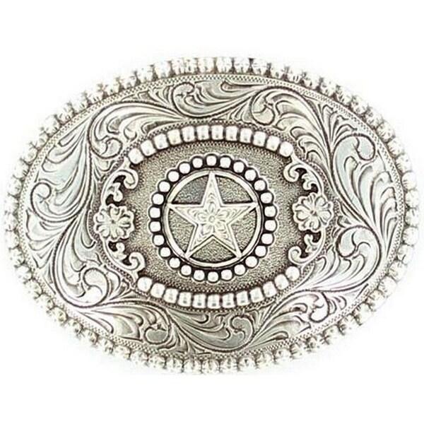 Nocona Western Belt Buckle Womens Star Rhinestones Silver - 3 x 4