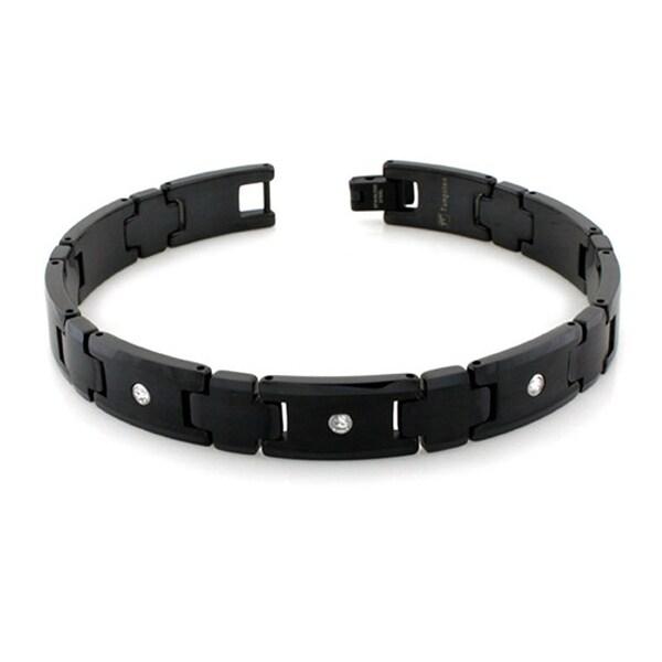 Men's Black Plated Tungsten Carbide Link Bracelet Bracelet with 3 Round CZ Stones- 9 Inches