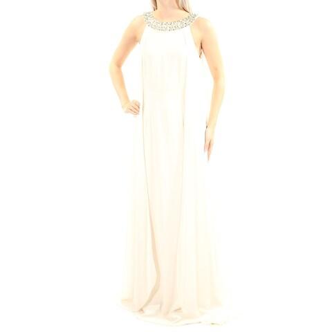 Womens Ivory Sleeveless Full Length Shift Wedding Dress Size: 6