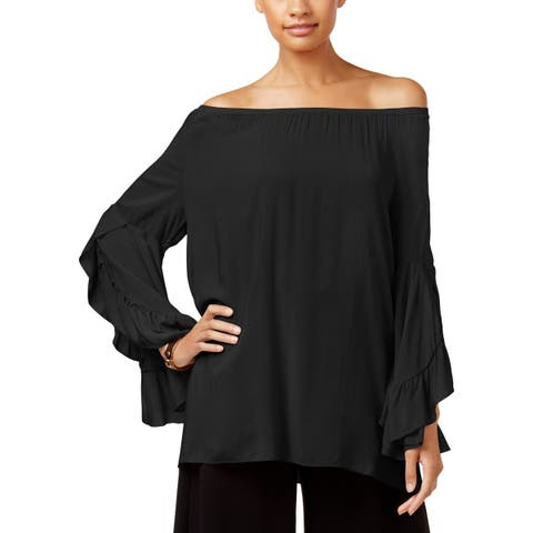 Fever Womens Blouse Ruffled Sleeve Wide Neck